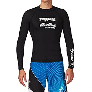 Billabong Long Sleeved SHELTER Rash vest in BLACK G4MY11 Sizes- - XXLarge