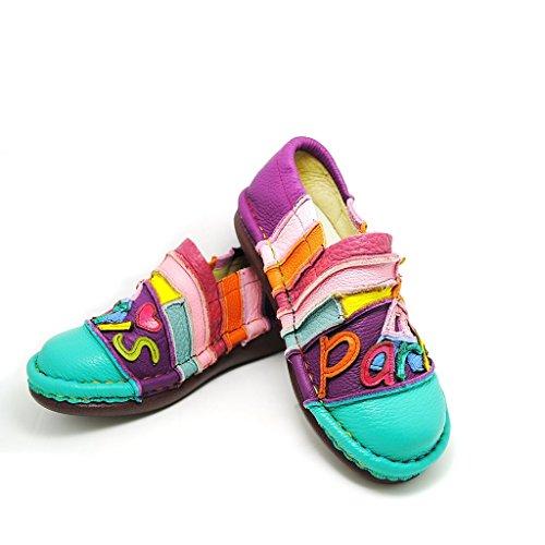 Femme Chaussures Florales Handmade en Vrai Cuir 100 % Chaussures Cuir Fabriqué à la Main Bonbon Arc-en-Ciel style décontracté Bleu