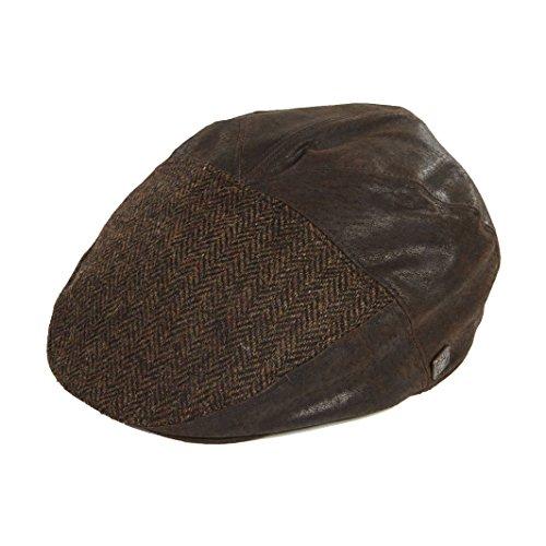 523ec09634786e Dasmarca Mens Cabbie Tweed Wool Leather Flat Cap - Aston Brown S
