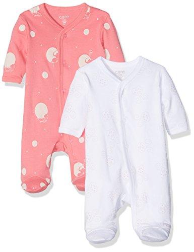 Care Baby-Mädchen Schlafstrampler, 2er Pack, Mehrfarbig (Camellia Rose 531), 12 Monate (Herstellergröße: 80 )