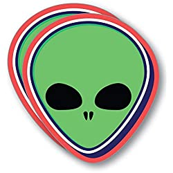 2X Green Alien Face Sticker Decal UFO Area 51 Space Laptop Funny Et