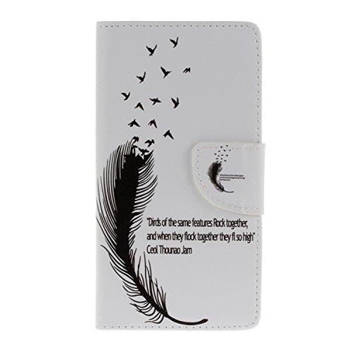 Wileyfox Storm Hülle, Candy House Flying Birds Feather Muster PU Leder Flip Schutzhülle Cover Mit Handschlaufe Magnet Schließung für Wileyfox Storm
