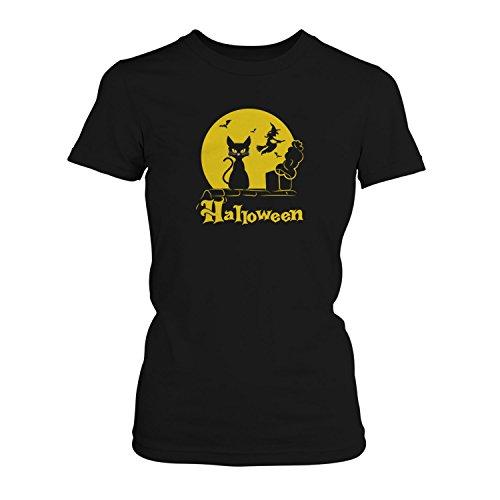 Halloween Katze - Damen T-Shirt von Fashionalarm | Fun Shirt Horror Kostüm  Karneval Fasching