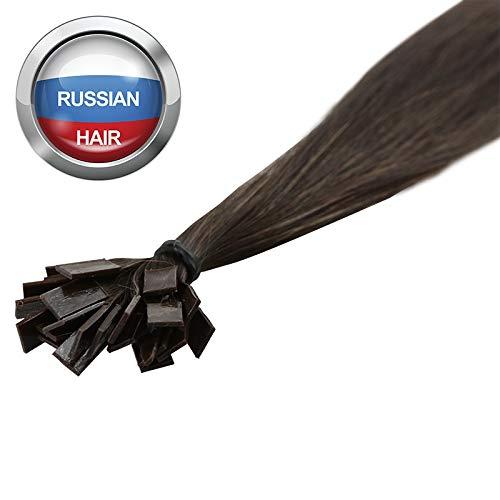 Extensions Cheveux Kératine 100 mèches russes 1gr Châtain 50cm