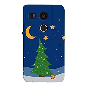 ColourCrust LG Google Nexus 5X Mobile Phone Back Cover With Xmas tree with Stars and Moon - Durable Matte Finish Hard Plastic Slim Case