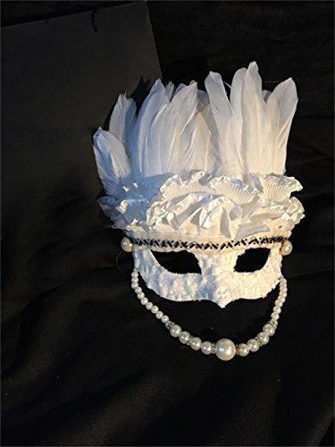 Unbekannt Jack Mall- Venezianischen Perle weißer Spitze Feder Quasten Damen Maske maskiert Halloween-Maske