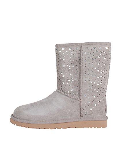 Ugg W Classic Short Flora Perf Grey Boots - Stivaletti Grigi Camoscio Con Particolari Argento