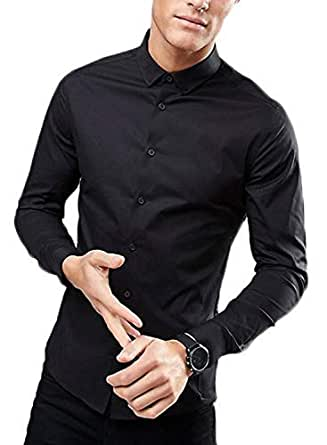 MANQ Men's Solid Slim Fit Formal/Party Shirt (Black_36)