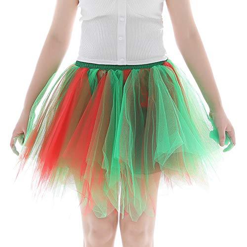 Andouy Damen Tutu Rock Tüll Mix Bunte Petticoat Ballett Tanz Organza Geschichteten Kostüm Dress-up sexy Größe 36-46(36-46,Grün mischen)