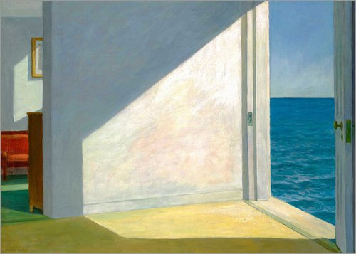 Posterlounge Leinwandbild 70 x 50 cm: Zimmer am Meer von Edward Hopper - fertiges Wandbild, Bild auf Keilrahmen, Fertigbild auf Echter Leinwand, Leinwanddruck (Fine Hopper Edward Art)