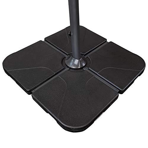 Derby Füllplatten ca. 25 kg - 4er Set Light - Mit Wasser und Sand befüllbar - Zur Beschwerung für Schirmständer