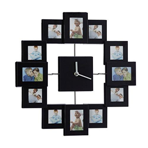 Relaxdays Wanduhr mit Bilderrahmen, Fotouhr für eigene Bilder, zum Selbstgestalten, HxBxT: 35 x 35 x 4 cm, schwarz