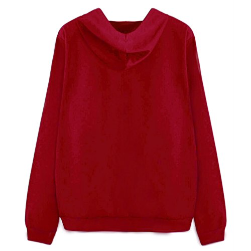 Etosell Femmes Imprimer Manches Longues Hoodie Sweat-shirt Occasionnels Hooded Manteau Rouge