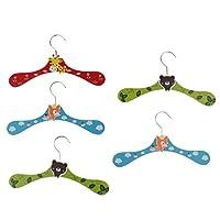 FLAMEER 5Pcs Wooden Clothes Hangers for Pet Dog Cat Small Baby Coat Hangers 24.5cm