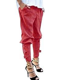 Primavera Elegantes Moda Mujer Pantalones De Cintura Alta Elastische Taille  Bolsillos Delanteros Fiesta Estilo Cinturón De 5dbb9de7ba2f