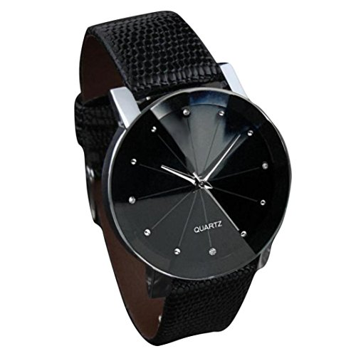 Familizo Men Luxury Quartz Military Stainless Steel Dial Leather Band Convex Wrist Watch Black