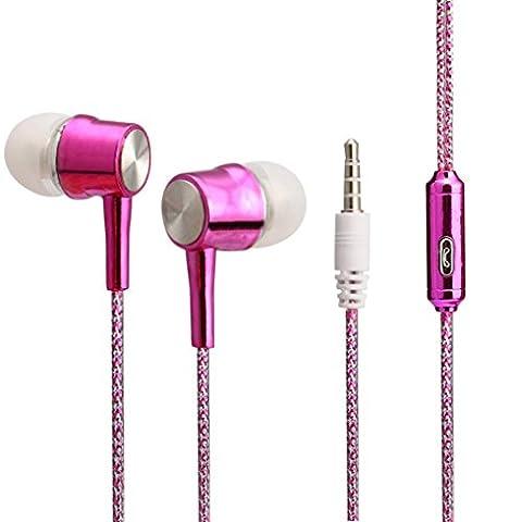 Omiky® Für iPhone Für Samsung 3.5mm In-Ear Stereo Ohrhörer Kopfhörer Headset MIC (Heißes Rosa)