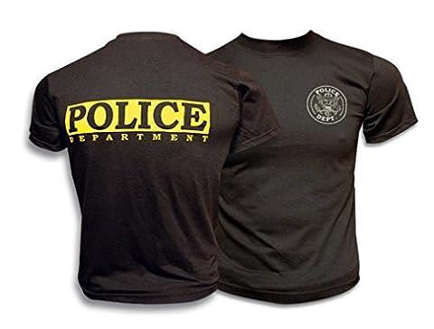 M. Albainox–T-shirt manches courtes Police, noir -, XXL