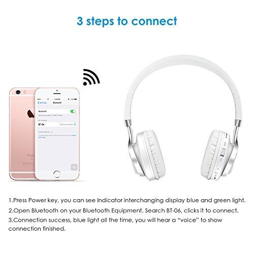 Sound Intone BT-06 Swift Bluetooth 4.0 drahtlose Strereo Kopfhörer, Lärm isolierende on Ear Kopfhörer mit eingebautem Mikrofon und Lautstärkereglung, Audio Kabel, kompatibel mit den meisten Phones/ PC/ Tv/ iPhone/ Samsung/ Laptop(Weiß)