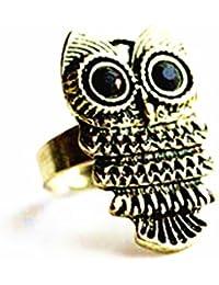 Schöne Antik Modeschmuck Eule Ring Ringe messing Trendy Bronzefarbe Bronze Eule Anhänger größenverstellbar J015