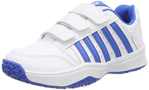 K-Swiss Performance Unisex-Kinder Court Smash Strap Omni Tennisschuhe Weiß (White/Brilliant Blue 128M) 33 EU