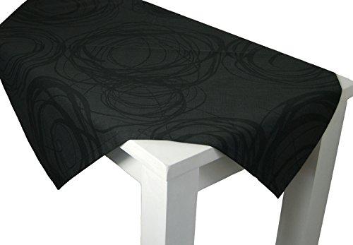 beties Mystik Mitteldecke ca. 80x80 cm abstraktes Kringel-Design in schwarz auf dunklem Background in 100% Baumwolle Schiefer Schwarz (Korb Grau Bett-decke)