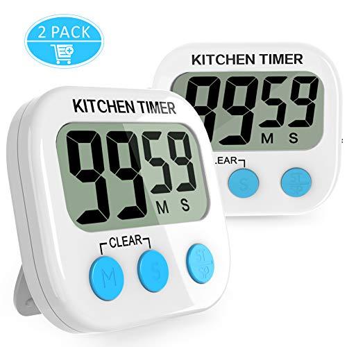 Gvoo Digital Küchen Timer, 2 Stück Digital Eieruhr Küchenwecker Kochen Timer Uhr Kitchen Timer Kurzzeitmesser mit Großen LCD-Display und Laut Alarm und Magnet mit Schalter -