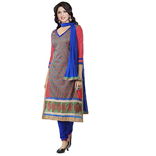 Ramapir Fashion Women's Peach and Blue Colour 3/4th Sleeves Pure Cotton Heavy Nazmin Embroidery Salwar Suit
