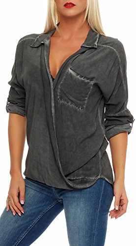 malito 3/4 Bluse im Washed-Look Tunika 7285 Damen One Size Dunkelgrau