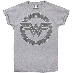 DC Comics Wonder Woman Metallic Logo Camiseta, Gris (Sport Grey SPO), 42 (Talla del Fabricante: Large) para Mujer