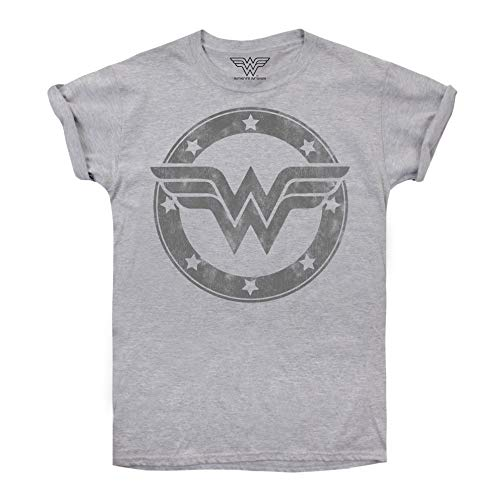 DC Comics Damen Wonder Woman Metallic Logo T-Shirt, Grau (Sport Grey SPO), 38 (Herstellergröße: Medium)
