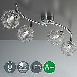 Lámpara de techo con 4 x 3,5 W bolas de cristal, luz de techo moderna de metal incl 2 bombillas LED G9, Orientable y giratoria 230 V IP20 3000K