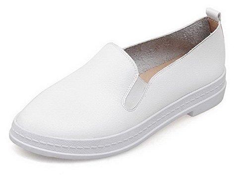 AgooLar Femme Pu Cuir Couleur Unie Tire à Talon Bas Rond Chaussures Légeres Blanc