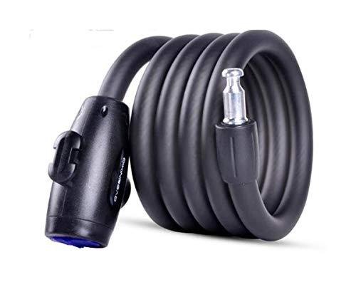 Yougou01 Blocco Bicicletta, Blocco antifurto per Bicicletta elettrica, Cavo di Sicurezza, 59/70 Pollici, Nero, Rosso, Blu Metallo di Alta qualità (Color : Black, Size : 1.8m)