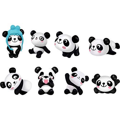 Panda Toys Figuren-Set - Süßes Panda-Tier-Spielset Action-Figuren Partyzubehör/Kuchendekoration 1 Set 8 Stück