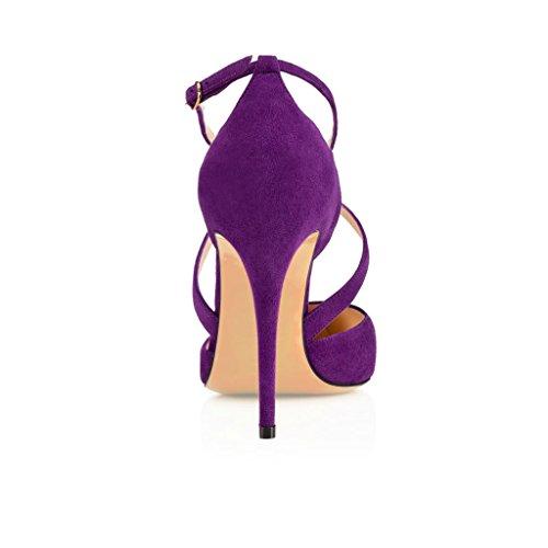 EDEFS Damenschuhe Faschion 10cm High Heel Gewirr Knöchelriemen Partei Kleid Sandelholz Schuhe Purple