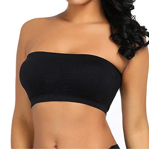 Boolavard Mode des Femmes Sexy sans Bretelles de Soutien-Gorge Boob Tube (M: 36-38, Noir)