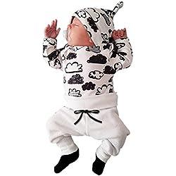 Xinantime ropa bebe nino recien nacido otoño Impresión de la nube blusa bebe niña manga larga Camisetas Bebé Conjuntos moda camisa + Pantalones + Sombrero (3 piezas) 0-2T (70(0-3meses), Blanco)