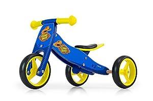 MILLY MALLY Jake Cowboy 2en 1Tres y Rueda Unidad de Madera Infantil, Color Azul