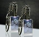 3Dglas 2 Stück LED beleuchter Glas Schlüsselanhänger mit deinem Foto per Laser graviert | Licht Farbe blau | Doppelpack