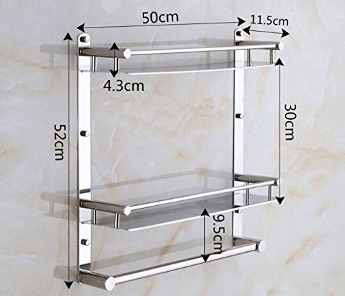 LI JING SHOP- Badezimmer Gestell Doppeldecker Single Pole Edelstahl verchromt WAND-montiert Handtuchhalter ( größe : 50*11.5*52CM ) (Single-pole-licht)