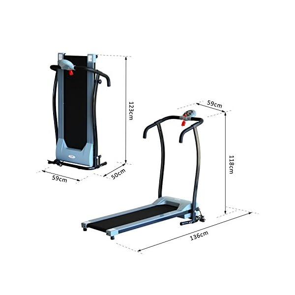 homcom Tapis Roulant Elettrico Pieghevole con Schermo LED 0.6HP 136 x 59 x 118cm Nero e Grigio 3 spesavip
