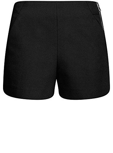 oodji Ultra Damen A-Linie-Shorts mit Hohem Bund Schwarz (2900N)