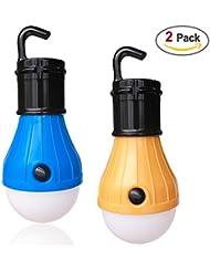 Ankier Campinglicht, tragbar, LED-Laterne für Zelt, Glühbirnen-Design, batteriebetrieben, für Camping, Wandern, Angeln (blau und gelb), 2 Stück