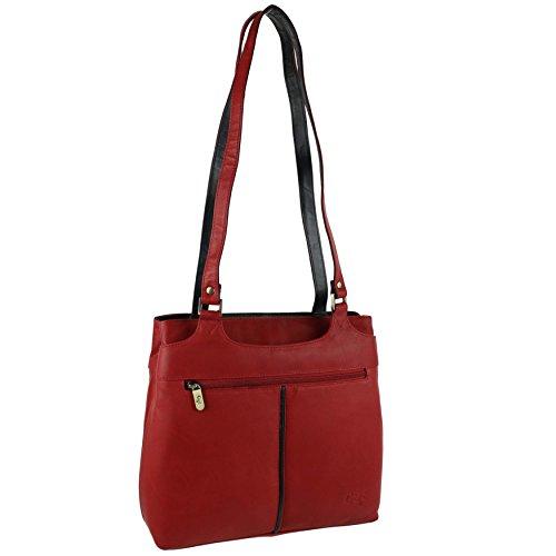 Mesdames souple bicolore en cuir Sac bandoulière Sac à main par Gigi; Othello Collection Multicolore - Rouge/noir