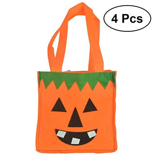 BESTOYARD 4pcs Halloween Kürbis Einkaufstasche Süße Sugar Cookie Candy Bag Handtasche für Kinder (Orange)