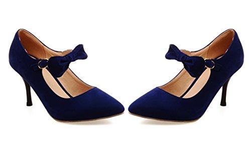 UH Escarpins Femmes Doux à Talon Moyen Aiguille de 8 CM Bout Pointu avec Noeuds à Deux Boucles Bleu