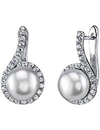 8mm White Freshwater Cultured Pearl & Crystal Kora Earrings