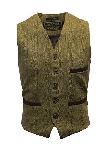 Walker and Hawkes Herren Anzugweste aus Tweed mit Teflon - Helles Salbeigrün - Wolle Walker