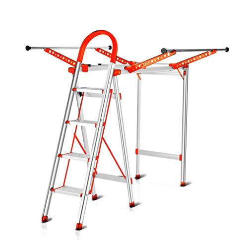 KJZ Haushaltsleiter, Faltender Balkonleiter Metall Multifunktionale dreistufige Wäscheständer Schuhregal Größe 126 * 157 * 142CM (Farbe : Orange, größe : 126 * 157 * 142CM)